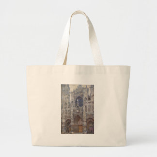 Rouen Cathedral, Grey Weather by Claude Monet Large Tote Bag