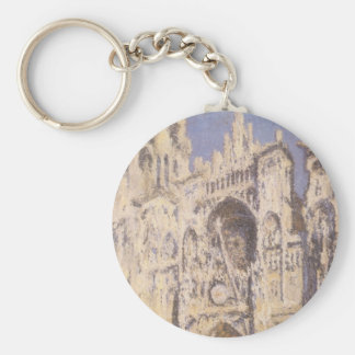 Rouen Cathedral, Harmony Blue Gold by Claude Monet Basic Round Button Key Ring