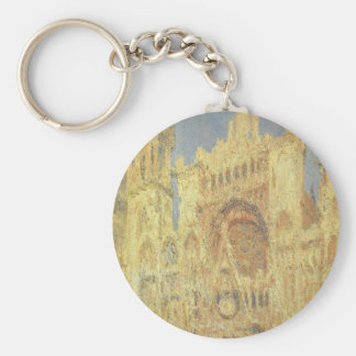 Rouen Cathedral, Sunset by Claude Monet Basic Round Button Key Ring