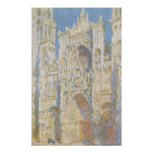 Rouen Cathedral West Facade Sunlight by Monet Posters