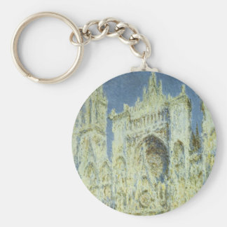 Rouen Cathedral West Facade Sunlight, Claude Monet Basic Round Button Key Ring