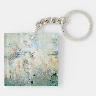 Rough Abstract White Painting Double-Sided Square Acrylic Key Ring