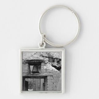 Rough adobe bell in entryway, Santa Fe, New Silver-Colored Square Key Ring
