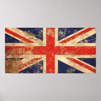 Rough Aged Vintage British Flag Poster