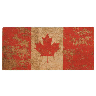 Rough Aged Vintage Canadian Flag Wood USB 2.0 Flash Drive