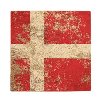 Rough Aged Vintage Danish Flag Wood Coaster