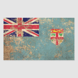 Rough Aged Vintage Fiji Flag Rectangle Stickers