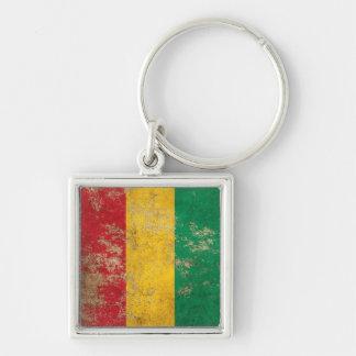 Rough Aged Vintage Guinea Flag Key Chains