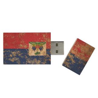 Rough Aged Vintage Haitian Flag Wood USB 2.0 Flash Drive