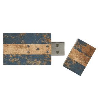 Rough Aged Vintage Honduras Flag Wood USB 2.0 Flash Drive