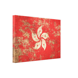 Rough Aged Vintage Hong Kong Flag Gallery Wrapped Canvas