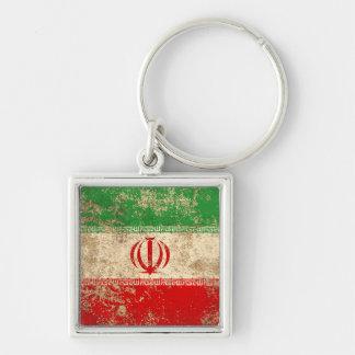 Rough Aged Vintage Iranian Flag Key Chain