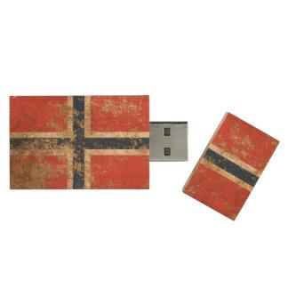 Rough Aged Vintage Norwegian Flag Wood USB 2.0 Flash Drive