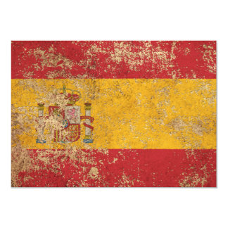Rough Aged Vintage Spanish Flag Personalized Announcements