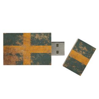 Rough Aged Vintage Swedish Flag Wood USB 2.0 Flash Drive