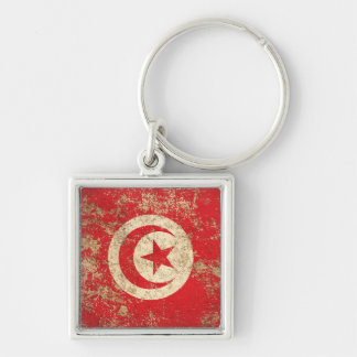 Rough Aged Vintage Tunisian Flag Key Chains