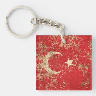 Rough Aged Vintage Turkish Flag Key Chains