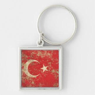 Rough Aged Vintage Turkish Flag Key Chain