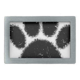 Rough And Distressed Dog Paw Print Belt Buckle