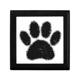 Rough And Distressed Dog Paw Print Gift Box