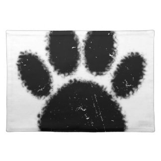 Rough And Distressed Dog Paw Print Placemat