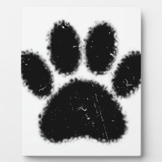 Rough And Distressed Dog Paw Print Plaque