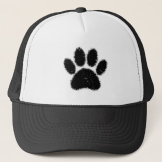 Rough And Distressed Dog Paw Print Trucker Hat