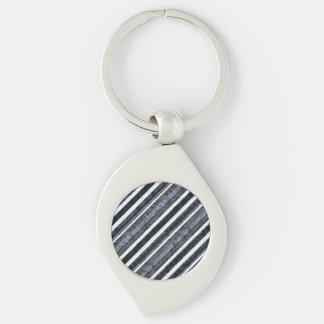 Rough Black Blue Stripe Swirl Chain Silver-Colored Swirl Metal Keychain