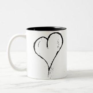 Rough Black Heart Two-Tone Coffee Mug