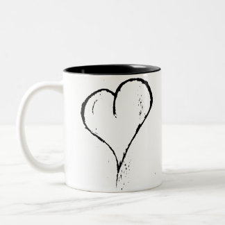 Rough Black Heart Two-Tone Mug