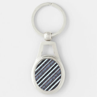 Rough Blue Black Stripe Oval Chain Silver-Colored Oval Metal Keychain