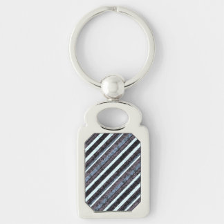 Rough Blue Black Stripe Rectangle Chain Silver-Colored Rectangular Metal Keychain