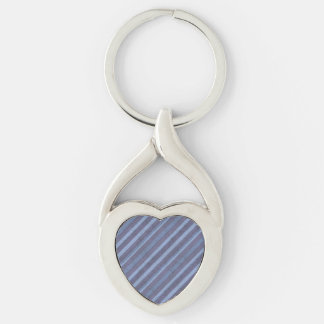 Rough Blue Purple Stripe Heart Chain Silver-Colored Heart-Shaped Metal Keychain