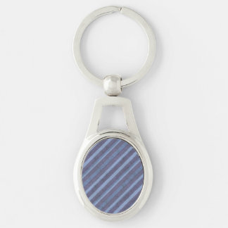Rough Blue Purple Stripe Oval Chain Silver-Colored Oval Metal Keychain