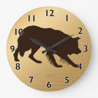 Rough Border Collie Shadow Wall Clock