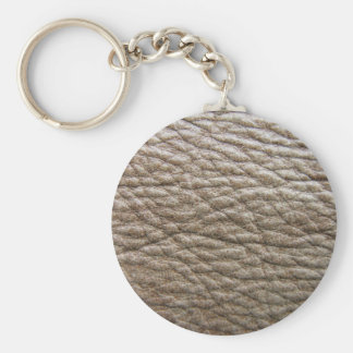Rough brown faux leather texture, lots of creases basic round button key ring