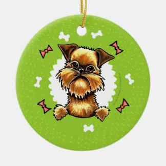 Rough Brussels Griffon Dog Bones Christmas Wreath Ceramic Ornament