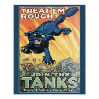 Rough Cat Tank Corps Vintage Military Poster