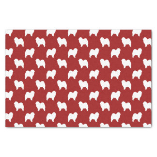 Rough Chow Chow Silhouettes Pattern Red Tissue Paper