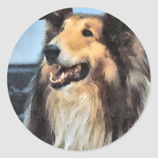 Rough Collie Art Gifts Classic Round Sticker