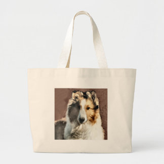 Rough Collie Art Gifts Large Tote Bag