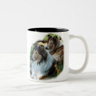 Rough Collie Art Gifts Two-Tone Mug
