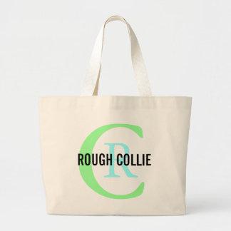 Rough Collie Breed Monogram Design Jumbo Tote Bag