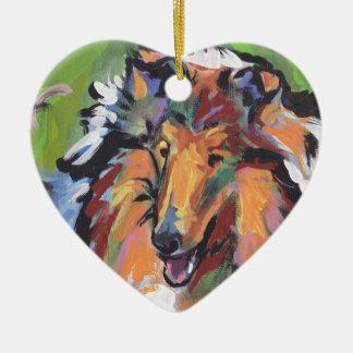 Rough Collie Bright Pop Dog Art Ceramic Ornament