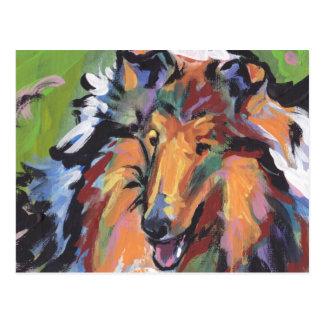 Rough Collie Bright Pop Dog Art Postcard