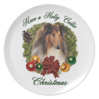 Rough Collie Christmas Plate