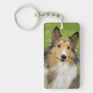 Rough Collie, dog, animal Double-Sided Rectangular Acrylic Key Ring