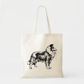 Rough collie dog beautiful art tote bag