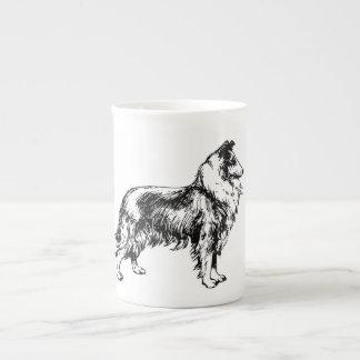 Rough collie dog beautiful illustration bone china tea cup