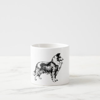 Rough collie dog beautiful illustration espresso espresso cups